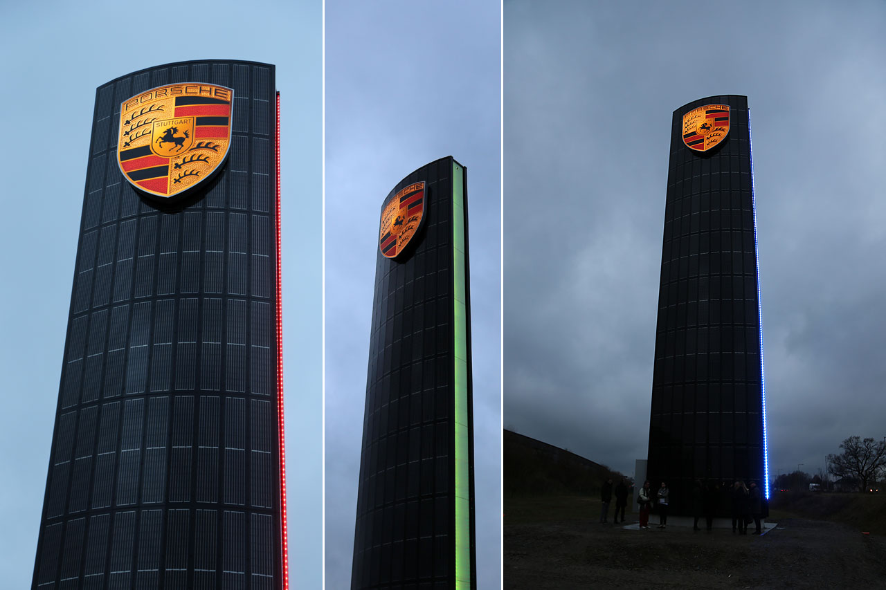 NewCarz Porsche Solarpylon Farbenspiel