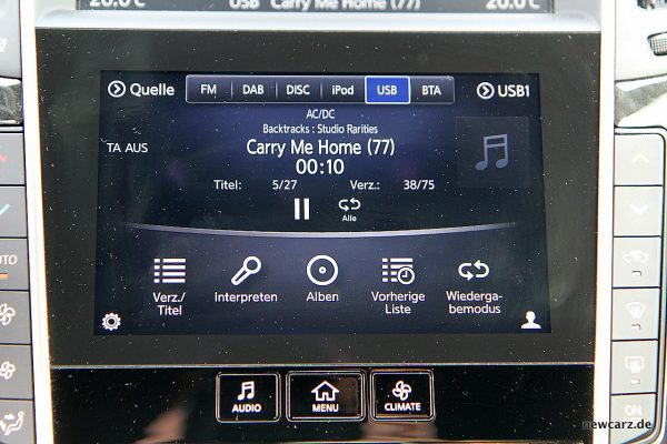 Infiniti Q60 unterer Touchscreen