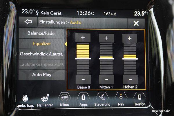Jeep Compass Audioeinstellungen