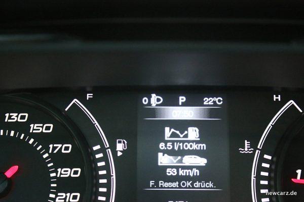 Fiat Tipo MJ2018 Verbrauchsanzeige