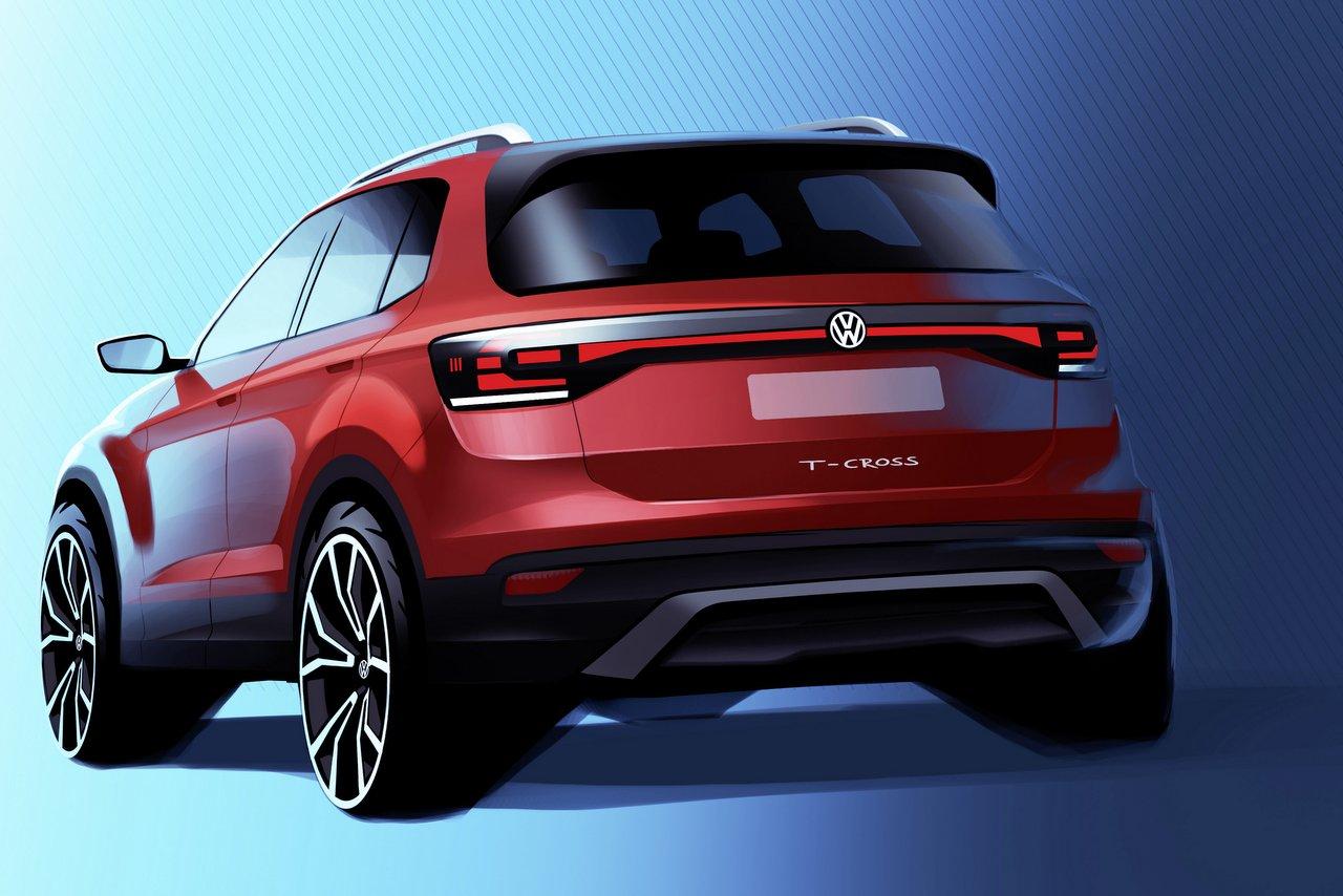 VW T-Cross - Heckansicht der Modellskizze