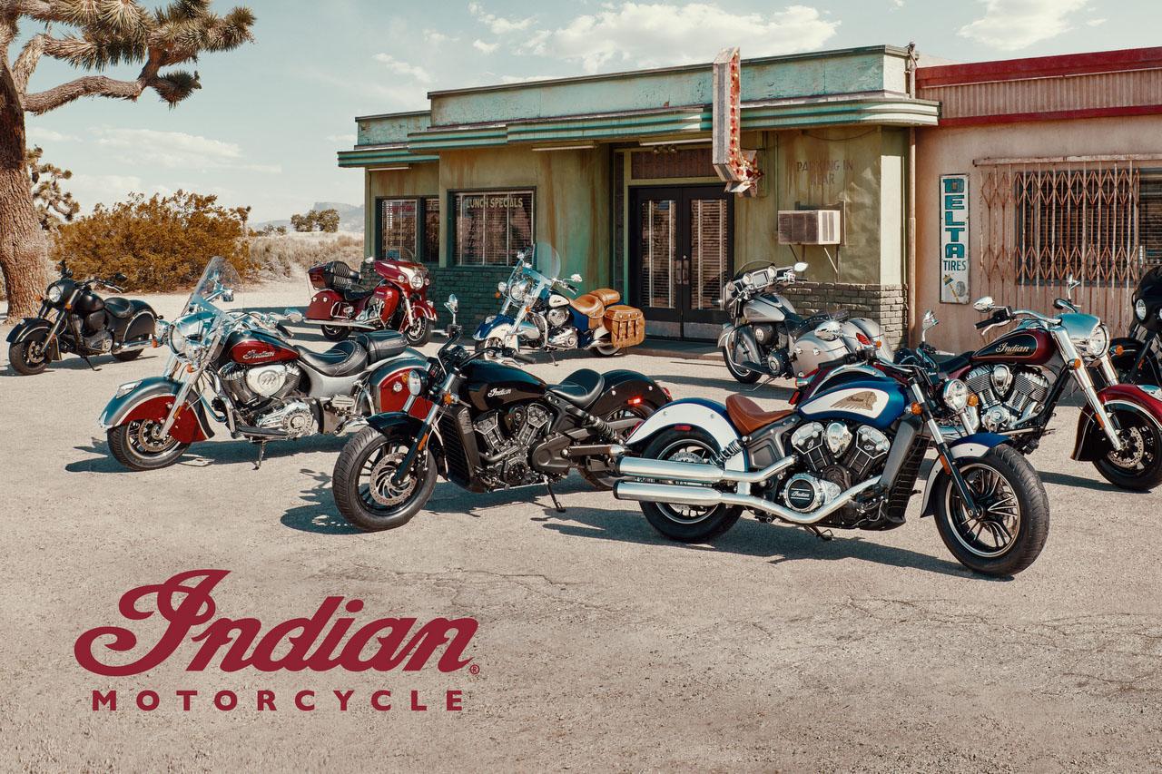 Übersicht diverser Motorräder von Indian Motorcycle