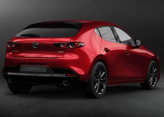 Heckansicht des neuen Mazda 3
