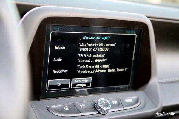 Chevrolet Camaro Cabriolet Bildschirm Sprachsteuerung