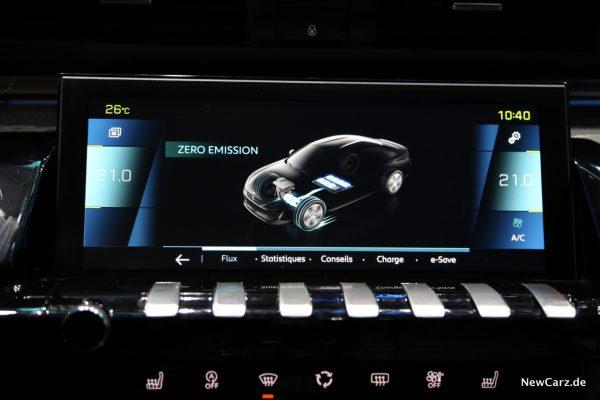 Peugeot 508 Hybrid Bildschirmanzeige