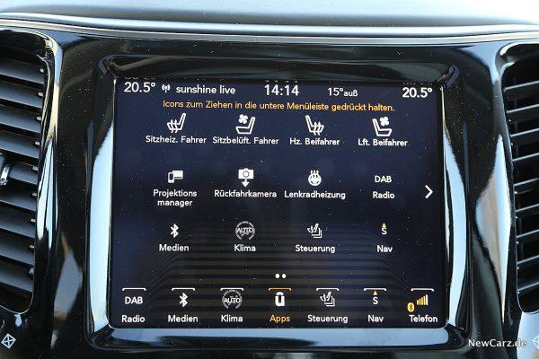 Jeep Cherokee Bildschirm