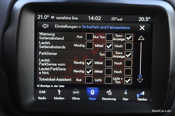 Bildschirm Uconnect 7.0