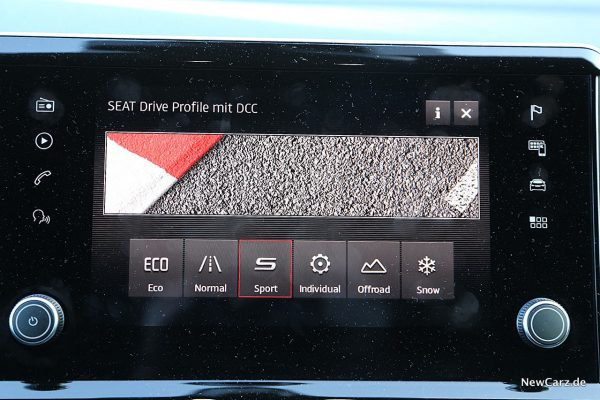 Fahrprogramme auf Touchscreen
