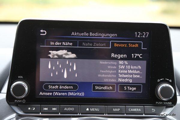 Wettervorhersage im Zentraldisplay