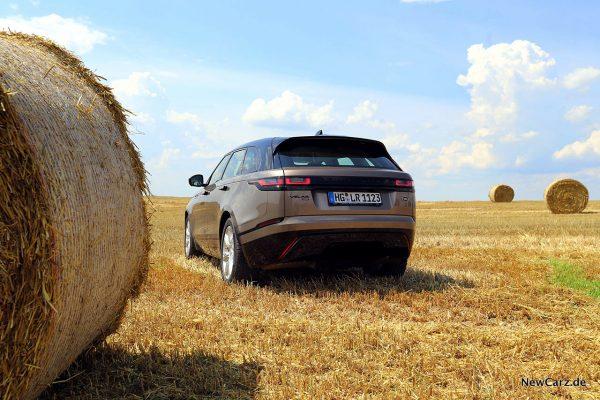 Range Rover Velar D300 schräg hinten auf Kornfeld