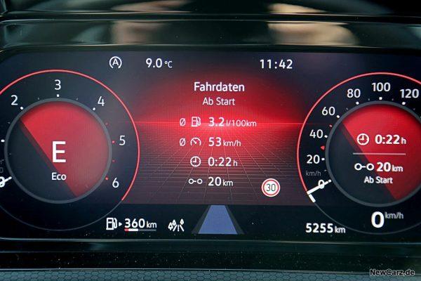 Sparrunde Verbrauch VW Golf 8 GTD