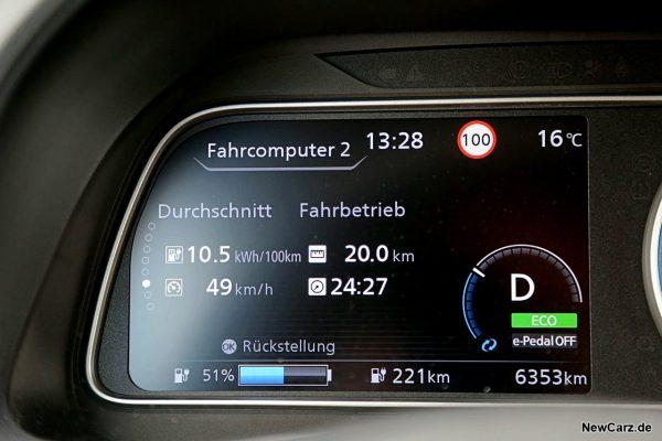 Verbrauch Sparrunde Nissan Leaf e+