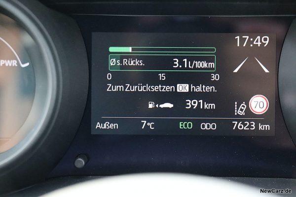 Sparrunde Verbrauch Toyota Yaris Hybrid