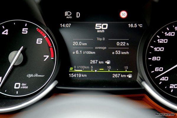 Sparrunde Verbrauch Alfa Romeo Giulia 2.0 16V